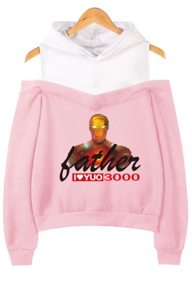 New Stylish Iron Figure Letter FATHER I LOVE YOU 3000 Cold Shoulder Pullover Hoodie