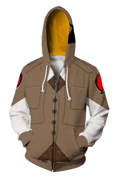 New Stylish Long Sleeve 3D Cosplay Costume Zip Up Sport Loose Khaki Hoodie