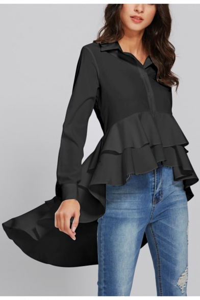 New Stylish Solid Color Long Sleeve Button Down Unique Irregular Ruffled Hem Shirt Blouse