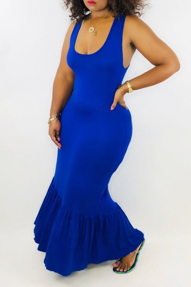 New Trendy Plain Scoop Neck Sleeveless Pleated Maxi Tank Blue Dress For Women