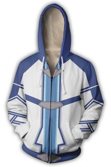New Trendy Unique Comic Cosplay Costume Blue and White Zip Up Drawstring Hoodie