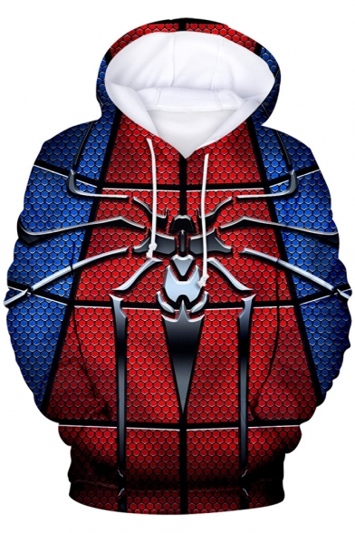 Popular 3D Spider Print Far From Home Blue and Red Pullover Drawstring Hoodie