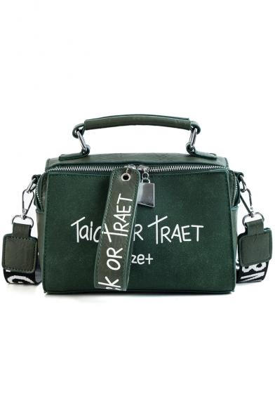 Popular Letter TAICK OR TRAET Printed Wide Strap School Satchel Shoulder Bag 21*9*13 CM