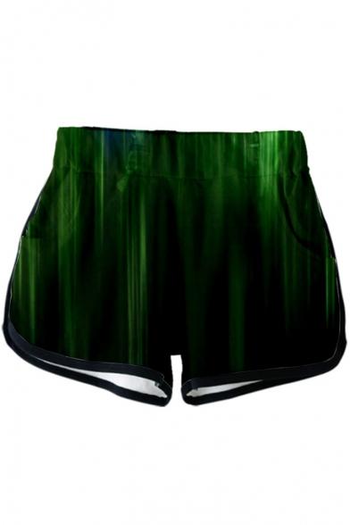Popular Quantum Battle Suit 3D Colorful Light Print Sport Loose Dolphin Shorts for Women