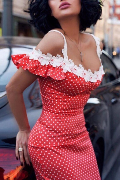 Sexy Red and White Polka Dot Printed Off the Shoulder Lace Embellished Midi Pencil Dress