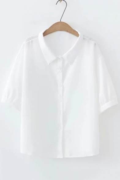 Summer Basic Simple Solid Color Short Sleeve Button Down Casual Loose Shirt