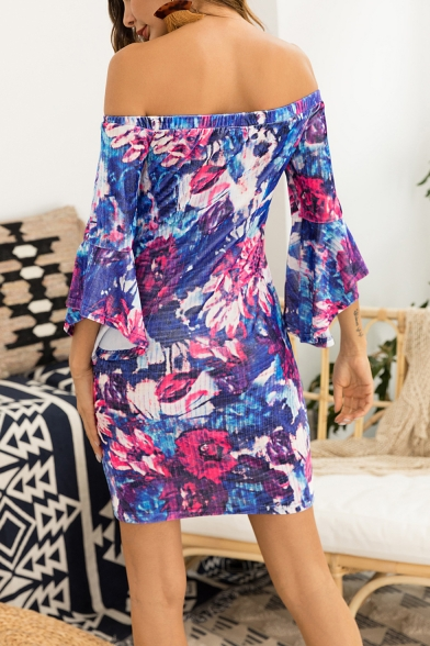 Summer Chic Floral Pattern Sexy Off the Shoulder Bell Sleeve Mini Sheath Dress for Women