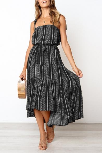 Summer Fashion Square Neck Bow Sleeveless Printed Ruffle Hem Midi Beach Boho Dress