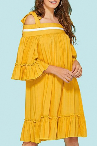Summer Hot Popular Ginger Bow-Tied Strap Cold Shoulder Pleated Midi Swing Ruffle Dress