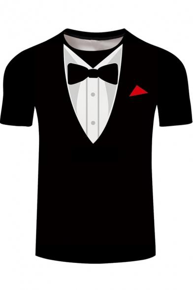 Summer Mens Cool 3D Fake Blazer Printed Short Sleeve Black T-Shirt