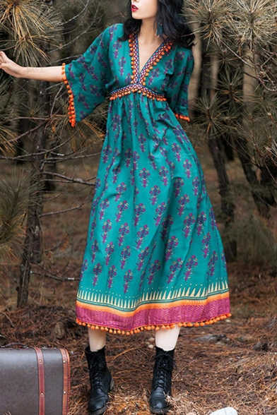 Summer Trendy V-Neck Half Sleeve Tribal Printed Tassel Hem Beach Midi Green Dress