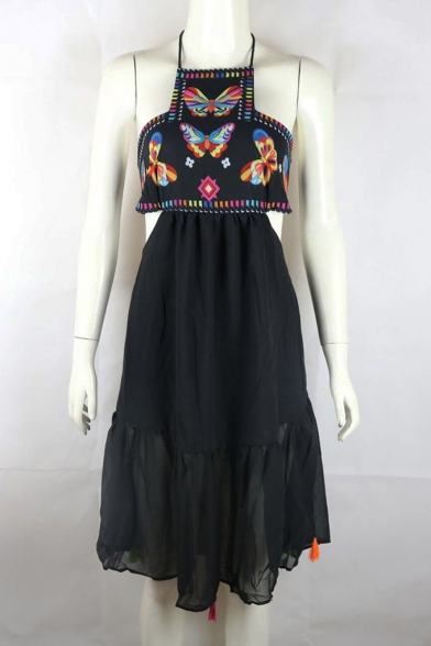 Summer Unique Butterfly Pattern Halter Neck Open Back Chiffon Black Asymmetrical Slip Dress