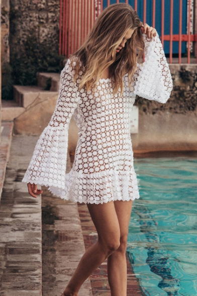 Summer Womens Trendy Scoop Neck Bell Long Sleeve Sexy Hollow Out White Mini Dress Bikini Cover Up