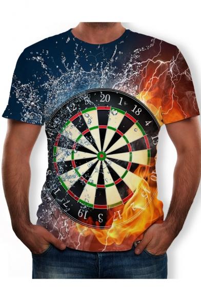 Trendy Cool 3D Fire Dart Board Printed Short Sleeve Round Neck T-Shirt