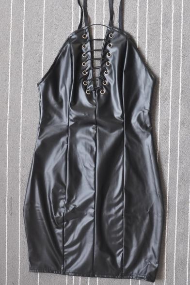 Trendy Eyelet Lace-Up V-Neck Backless Zipper Back Black Mini Bodycon PU Cami Dress