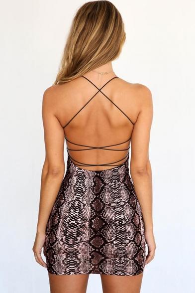 Trendy Snakeskin Printed Sleeveless Crisscross Open Back Mini Bandage Cami Dress