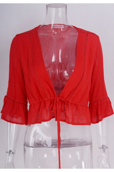 Trendy Solid Color Flared Sleeve Tied Plunging V-Neck Hollow Out Cropped Blouse Top
