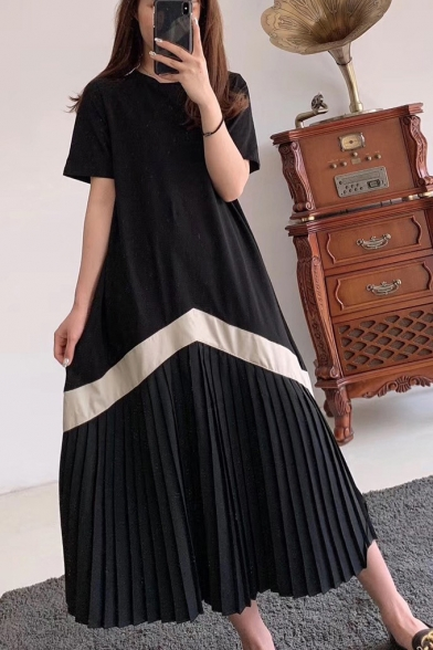 Unique Chevron Striped Printed Round Neck Short Sleeve Maxi Casual Pleated T-Shirt Dress