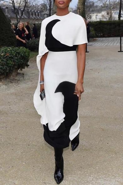 Women's Cool Round Neck Cutout Short Sleeve Colorblock Ruffle Hem Printed Maxi Asymmetric White Dress