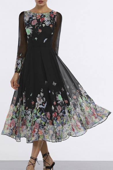 Women's Elegant Round Neck Long Sleeve Floral Printed Mesh Detail Maxi Swing Black Dress