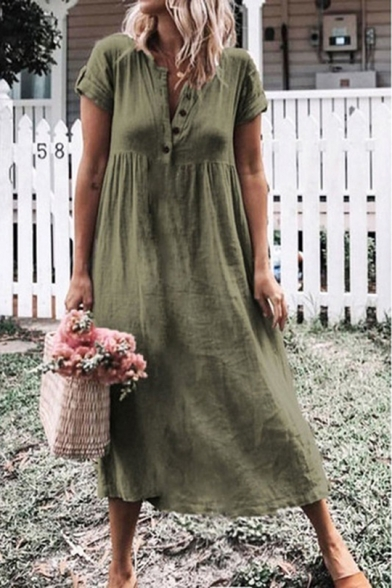 Women's Fashion Simple Plain Round Neck Short Sleeve Button-Front Midi T-Shirt Dress