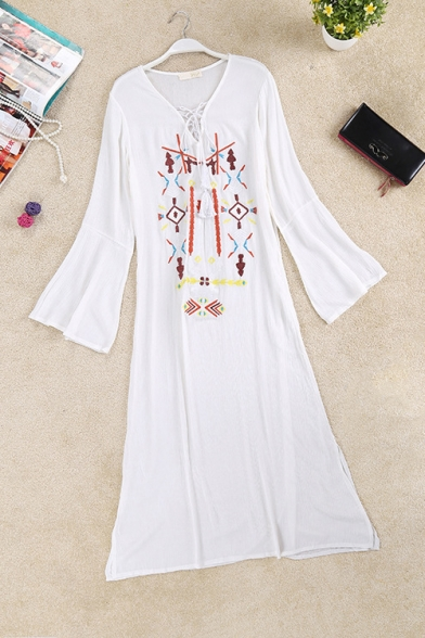 Women's Hot Fashion V-Neck Long Sleeve Tribal Printed Embroidered Midi Linen Swing Dress