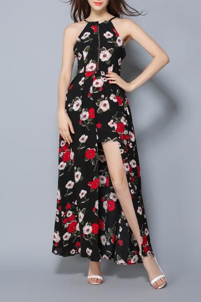 Women's Halter Neck Sleeveless Floral Printed Split Detail Maxi A-Line Slip Dress