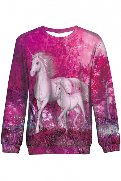 Women's Stylish Red Unicorn Printed Round Neck Long Sleeve Sweatshirt