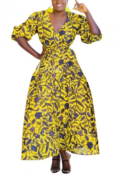 Women's Unique Plunge Neck Half Sleeve Floral Printed Bow-Tied Waist Maxi Wrap Dress