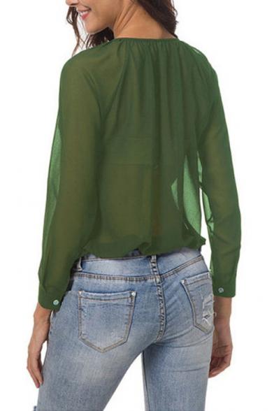 Women's V-Neck Long Sleeve Loose Casual Button Down Sheer Chiffon Blouse