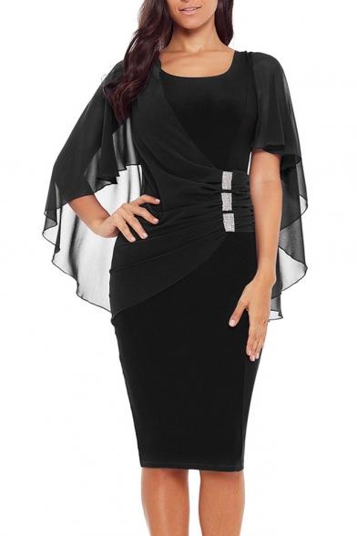 Womens Basic Simple Plain Scoop Neck Mesh Shawl Patched Midi Pencil Dress
