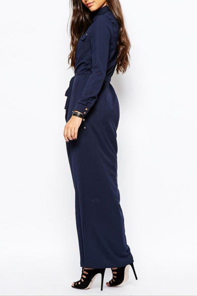 Womens New Fancy Basic Simple Plain Long Sleeve Button Down Tied Waist Dark Blue Maxi Shirt Dress
