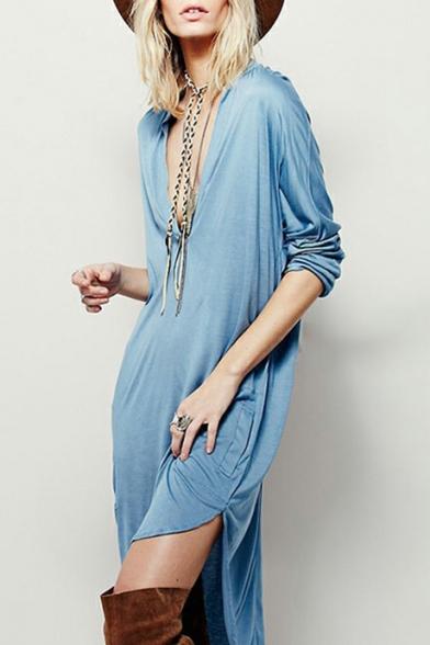 Womens New Fashion Sexy Plunging V-Neck Long Sleeve Simple Plain Midi Slouchy Asymmetrical Dress