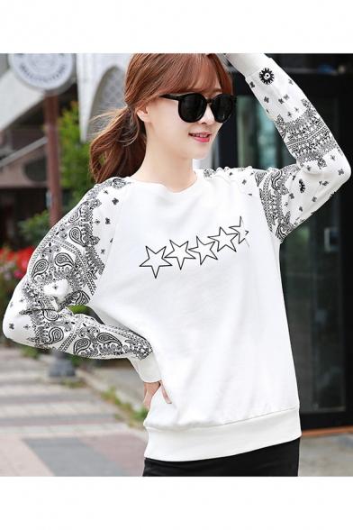 Womens Star Tribal Print White Round Neck Long Sleeve Sweatshirt