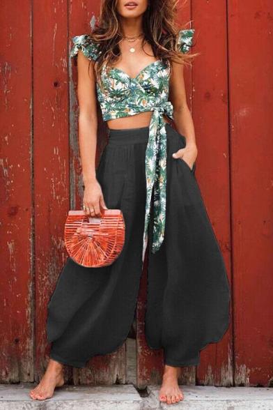 Mujer De Verano Nueva Moda De Color Sólido Casual Negra Suelta Capri Pantalones Bombachos