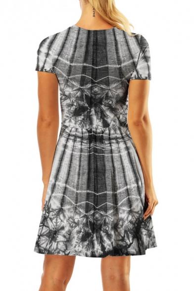 Womens Summer Stylish 3D Pattern Basic Round Neck Short Sleeve Mini A-Line Dress