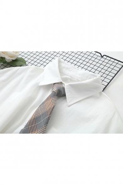 Cartoon Bear Embroidery Pocket Short Sleeve White Casual Loose Shirt