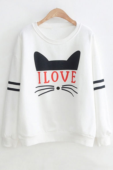 Cartoon Cat I LOVE Letter Printed Round Neck Striped Long Sleeve White Sweatshirt