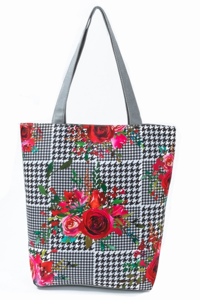 Creative National Style Plaid Floral Printed Black and White Tote Shopper Bag 27*11*38 CM