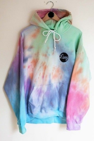 FENG Letter Tie Dye Drawstring Long Sleeve Hoodie with Pocket