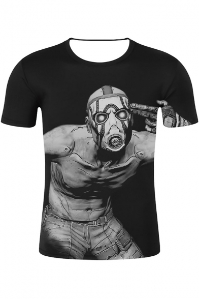 Funny Cool Comic Game Figure Pattern Round Neck Short Sleeve Black T-Shirt