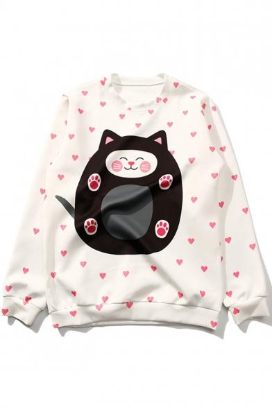 Girls Sweet Allover Heart Cartoon Cat Printed White Casual Loose Sweatshirt