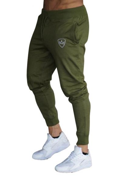 Guys Fashion Simple Crown Logo Printed Drawstring Waist Slim Fit Cotton Pants Sweatpants