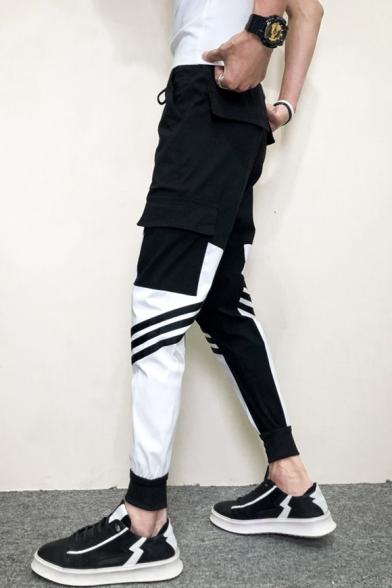 Guys New Fashion Colorblock Striped Printed Drawstring Waist Slim Fit Cargo Pants