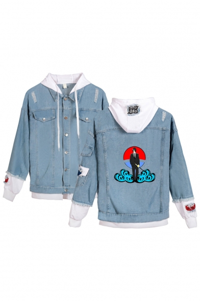 Hot Fashion Comic Character Cloud Print Patched Fake Two-Piece Button Front Denim Blue Hooded Coat Jacket