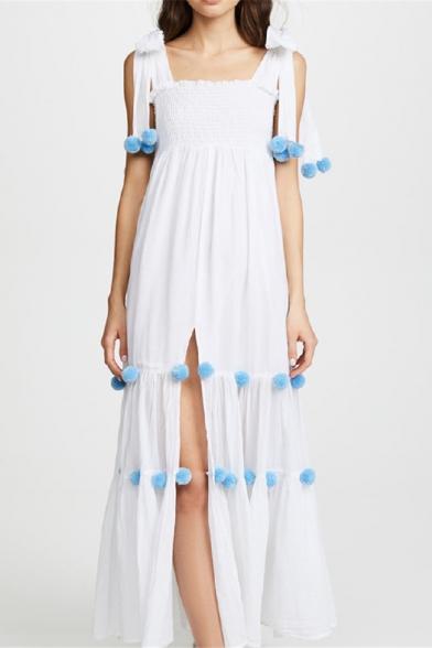 Hot Fashion Square Neck Sleeveless Plain Split Side Embellished Maxi Boho Beach Slip Dress