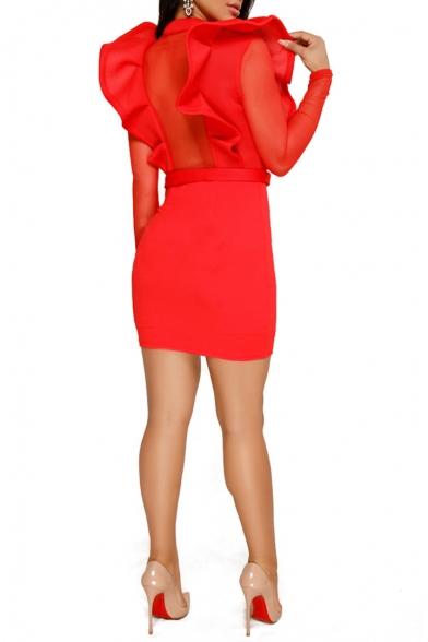 Hot Popular Simple Plain Button V-Neck Long Sleeve Ruffled Hem Mesh Panel Mini Bodycon Dress