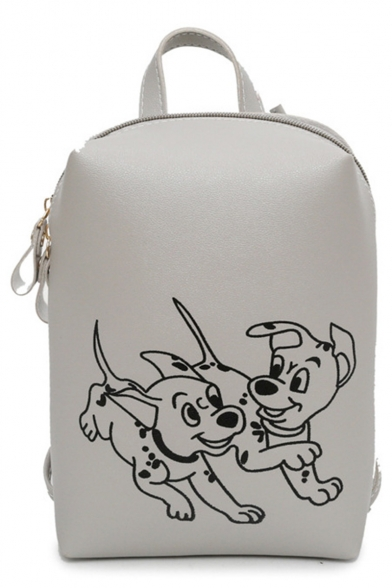 Lovely Cartoon Dog Print Solid Color Pu Leather Backpack For Girls