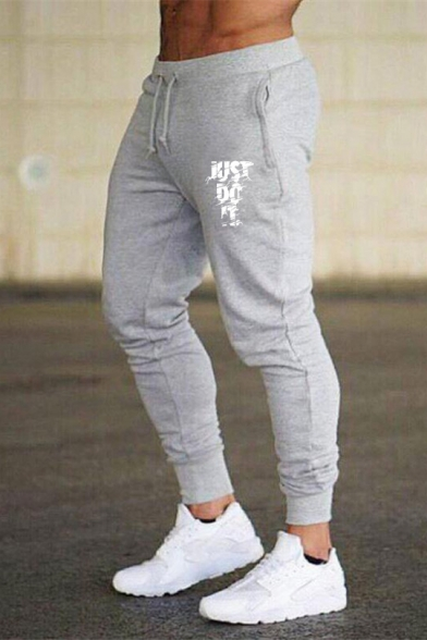 Men's Fashion Letter JUST DO IT Printed Drawstring Waist Fitted Sport Athletic Pants