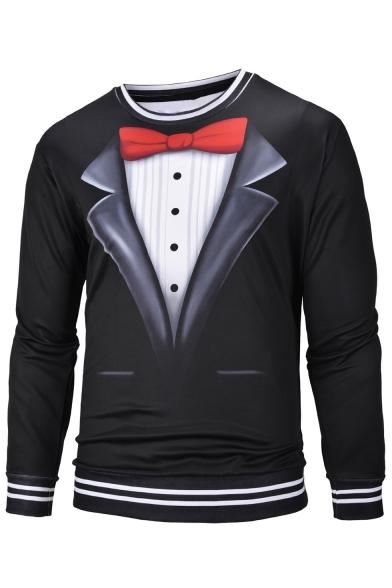 Men's Personalized Blazer Tie Button Print Fake Two Pieces Contrast Hem Round Neck Long Sleeve Black Pullover Sweatshirt